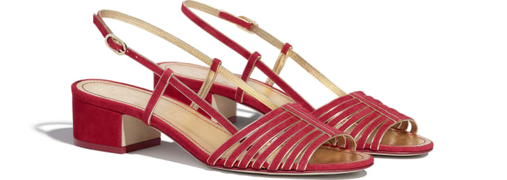 image 2 - Sandals - Suede Kidskin - Red & Gold