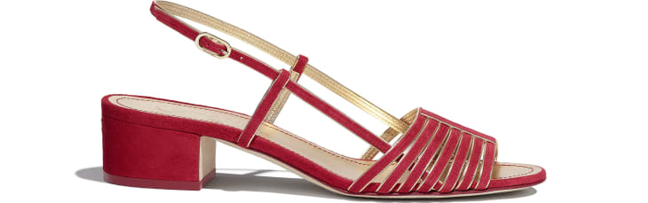 image 1 - Sandals - Suede Kidskin - Red & Gold