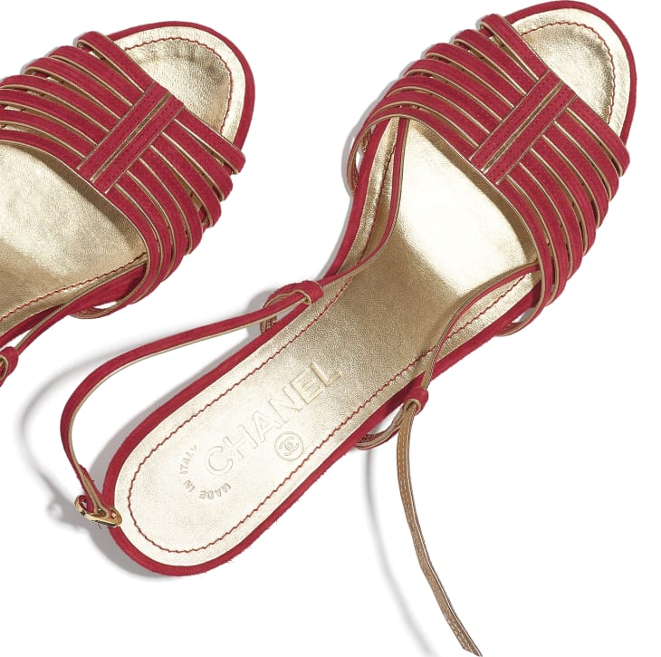 image 4 - Sandals - Suede Kidskin - Red & Gold