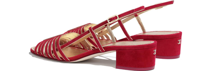 image 3 - Sandals - Suede Kidskin - Red & Gold