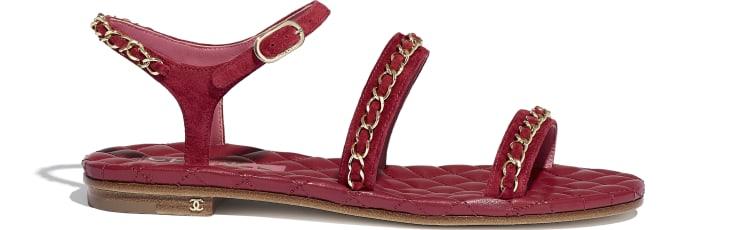 image 1 - Sandals - Suede Calfskin - Red