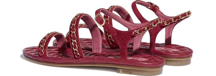 image 3 - Sandals - Suede Calfskin - Red