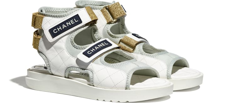image 2 - Sandals - Goatskin, Fabric & TPU - White, Light Grey & Navy Blue