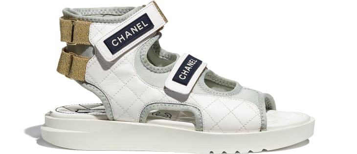 image 1 - Sandals - Goatskin, Fabric & TPU - White, Light Grey & Navy Blue