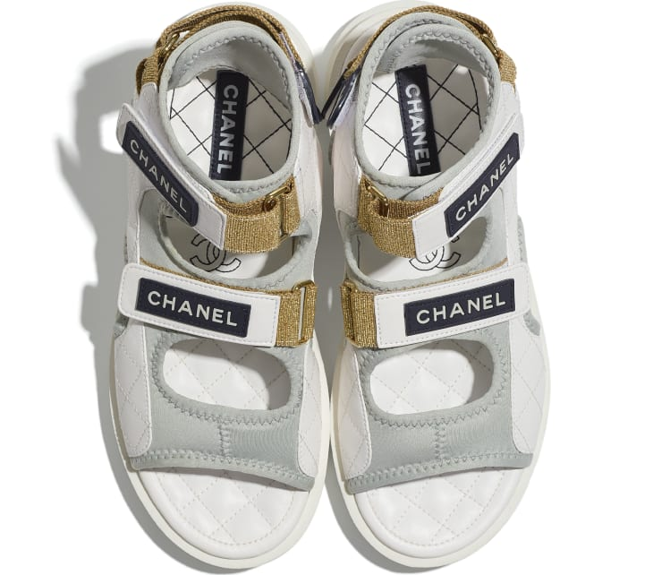 image 4 - Sandals - Goatskin, Fabric & TPU - White, Light Grey & Navy Blue