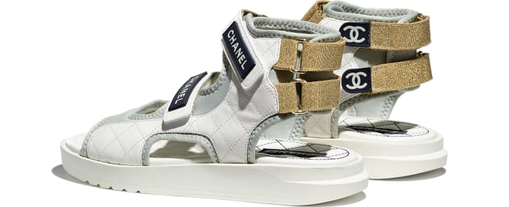 image 3 - Sandals - Goatskin, Fabric & TPU - White, Light Grey & Navy Blue