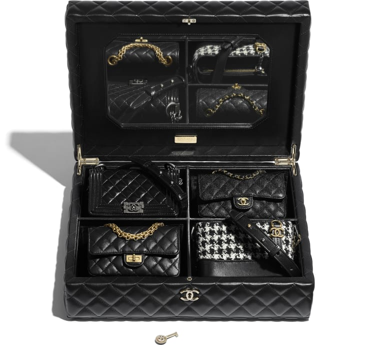image 3 - Conjunto de 4 Bolsas Mini - Couro de Cordeiro, Couro de Novilho, Tweed, Metal Dourado, Prateado & Acabamento em Rutênio - Preto