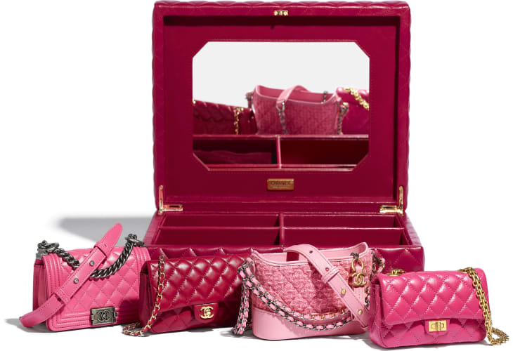 image 2 - Set of 4 Minis Bags - Lambskin, Calfskin, Tweed, Gold-Tone, Silver-Tone & Ruthenium-Finish Metal - Pink