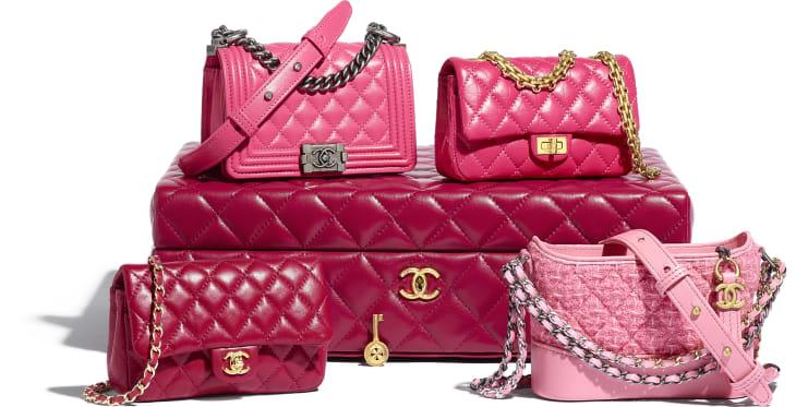 image 1 - Set of 4 Minis Bags - Lambskin, Calfskin, Tweed, Gold-Tone, Silver-Tone & Ruthenium-Finish Metal - Pink