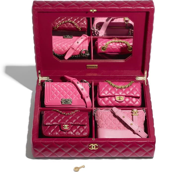 image 3 - Set of 4 Minis Bags - Lambskin, Calfskin, Tweed, Gold-Tone, Silver-Tone & Ruthenium-Finish Metal - Pink