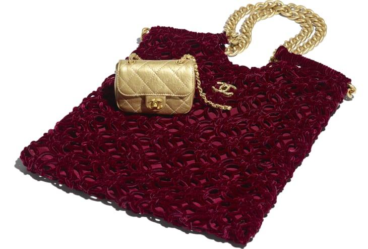 image 4 - Shopping Bag - Braided Velvet, Metallic Lambskin & Gold-Tone Metal - Burgundy