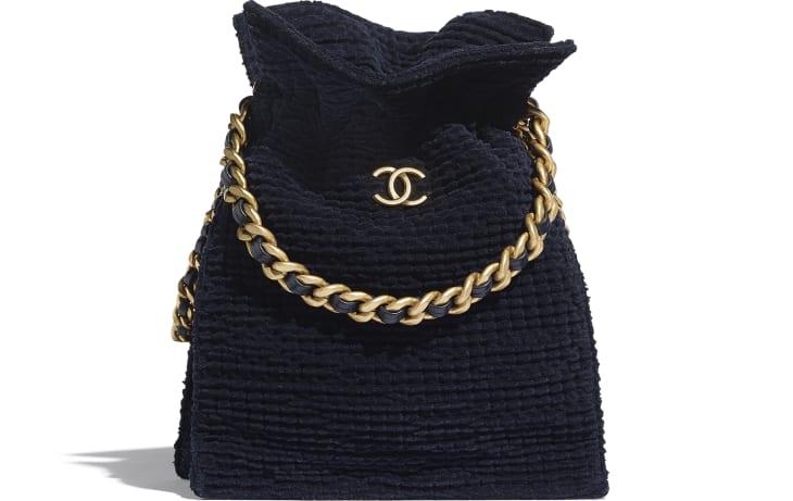 image 1 - Bolsa - Velvet Tweed & Gold-Tone Metal - Azul Marinho