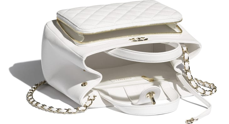 image 3 - Shopping Bag - Grained Calfskin & Gold-Tone Metal - White