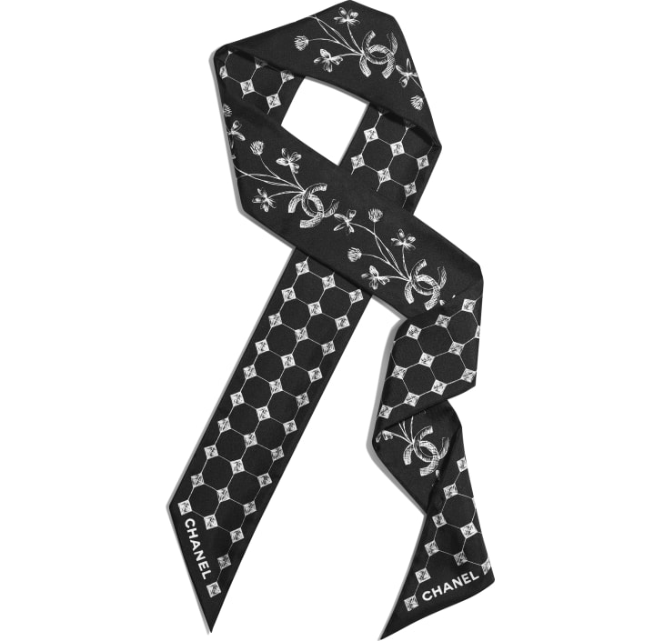 image 1 - Slim Bandeau - Silk Twill - Black & White