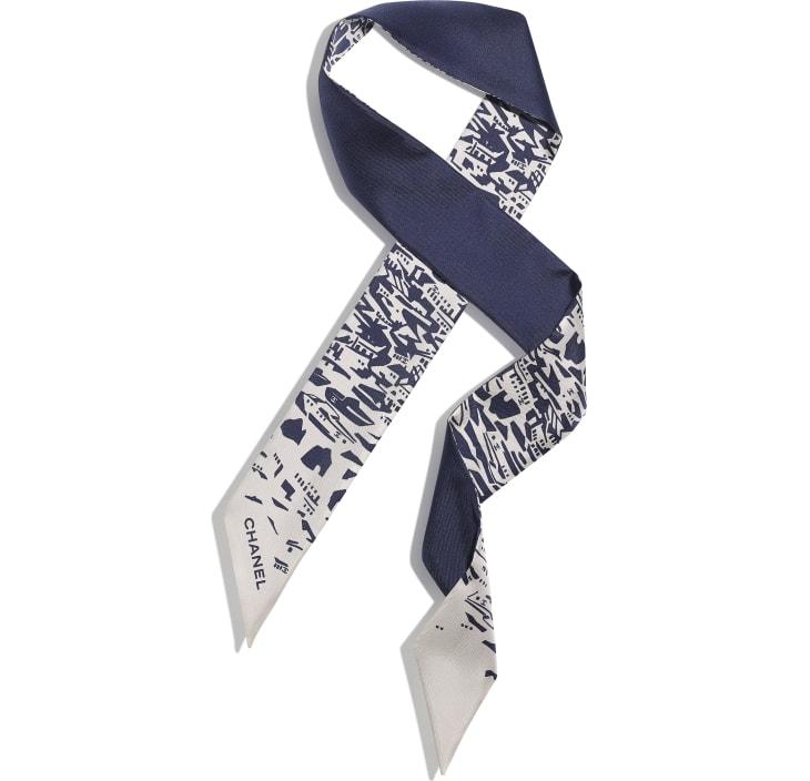 image 1 - Slim bandeau - Twill de soie - Bleu marine & blanc