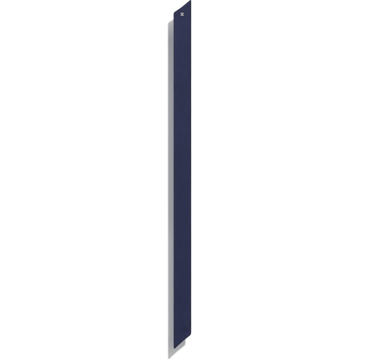 image 3 - Slim bandeau - Twill de soie - Bleu marine & blanc