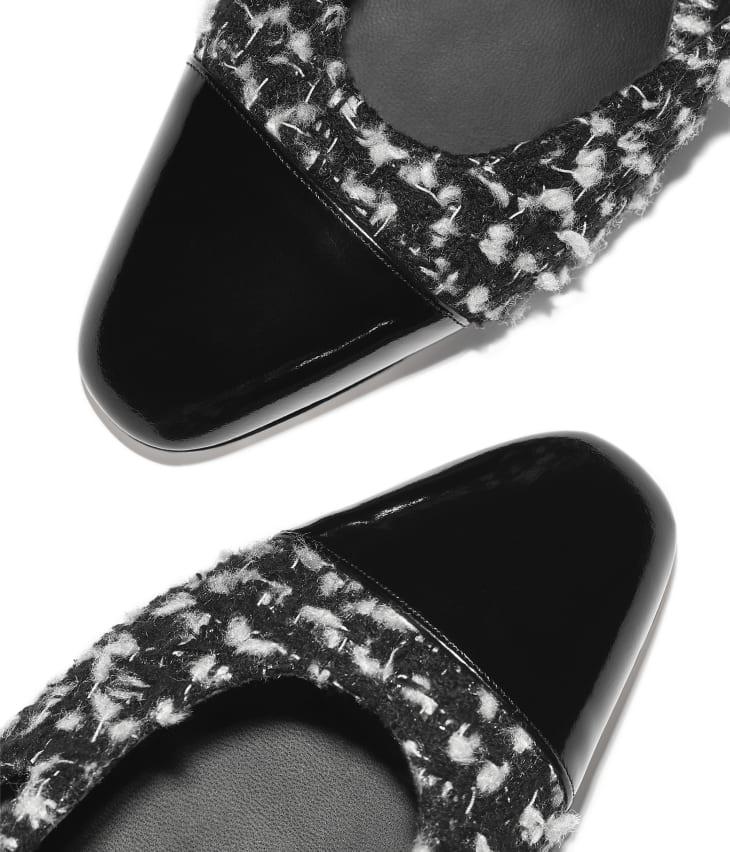 image 4 - Escarpins à bride - Tweed & veau - Noir & blanc