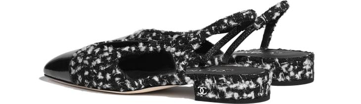 image 3 - Escarpins à bride - Tweed & veau - Noir & blanc