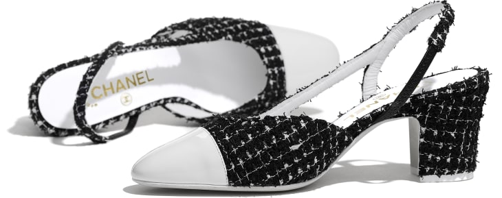 image 4 - Slingbacks - Tweed & Patent Calfskin - Black & White