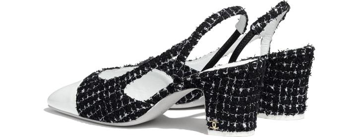image 3 - Slingbacks - Tweed & Patent Calfskin - Black & White