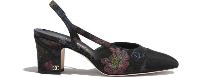 image 1 - Slingbacks - Denim & Grosgrain - Charcoal & Multicolor