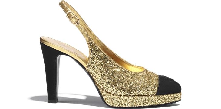 image 1 - Slingbacks - Glitter & Grosgrain - Gold & Black