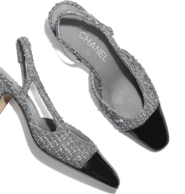 image 4 - Sling-Back - Tweed & Calfskin - Grey & Black