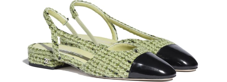 image 2 - Slingbacks - Tweed & Calfskin - Green & Black