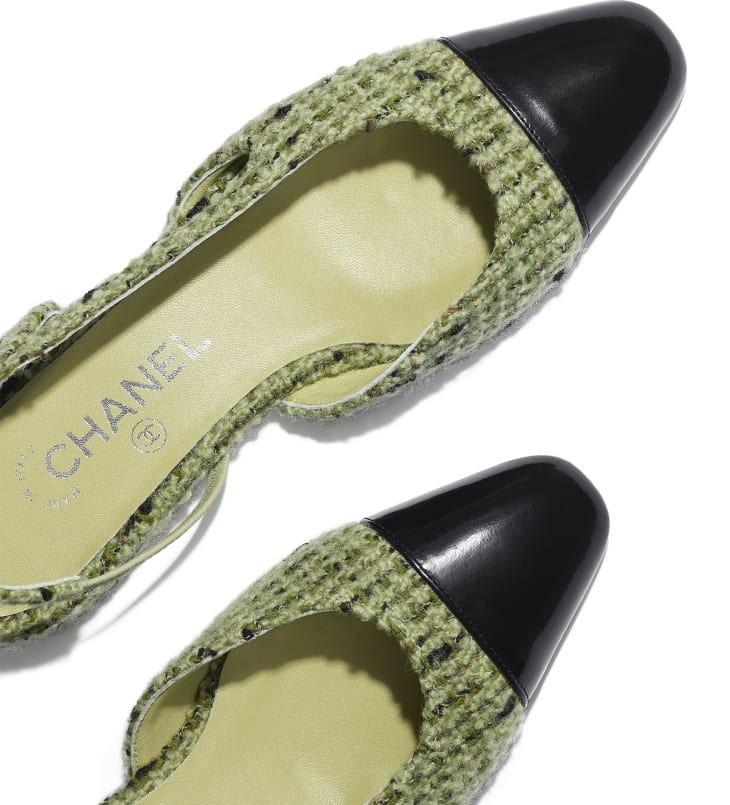 image 4 - Slingbacks - Tweed & Calfskin - Green & Black