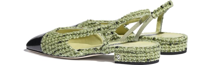 image 3 - Slingbacks - Tweed & Calfskin - Green & Black