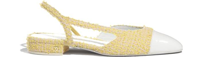 image 1 - Slingbacks - Tweed & Patent Calfskin - Yellow, Light Pink & White