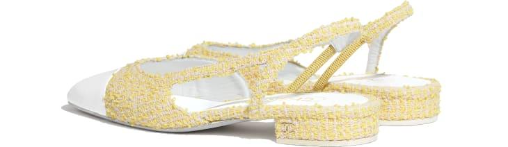 image 3 - Slingbacks - Tweed & Patent Calfskin - Yellow, Light Pink & White
