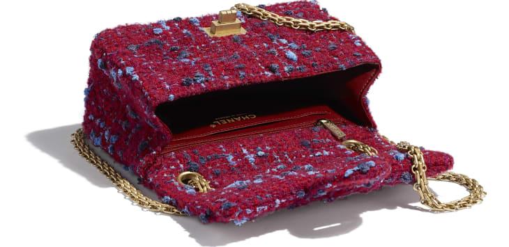 image 3 - Small 2.55 Handbag - Tweed & Gold Metal - Burgundy, Blue & Grey
