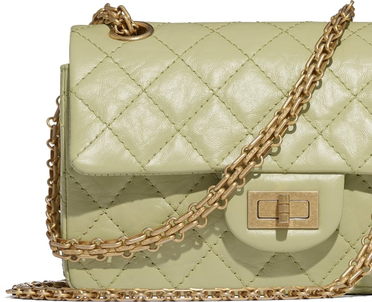 image 4 - Small 2.55 Handbag - Aged Calfskin & Gold-Tone Metal - Green