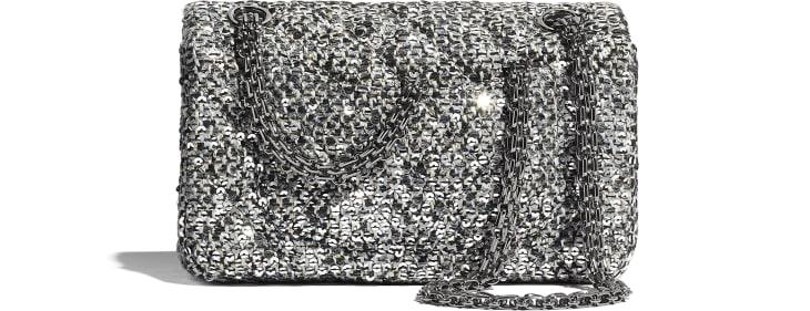 image 2 - Small 2.55 Handbag - Tweed, Sequins & Ruthenium-Finish Metal - Silver, Black & Gold