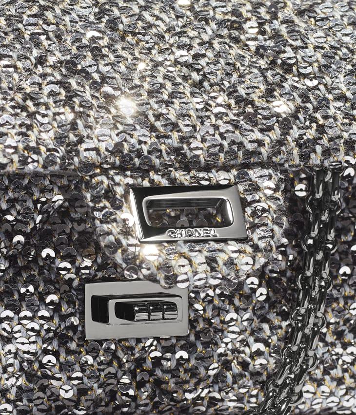 image 4 - Small 2.55 Handbag - Tweed, Sequins & Ruthenium-Finish Metal - Silver, Black & Gold