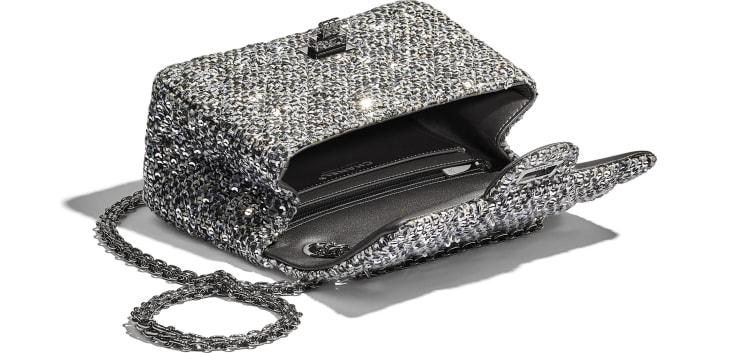 image 3 - Small 2.55 Handbag - Tweed, Sequins & Ruthenium-Finish Metal - Silver, Black & Gold