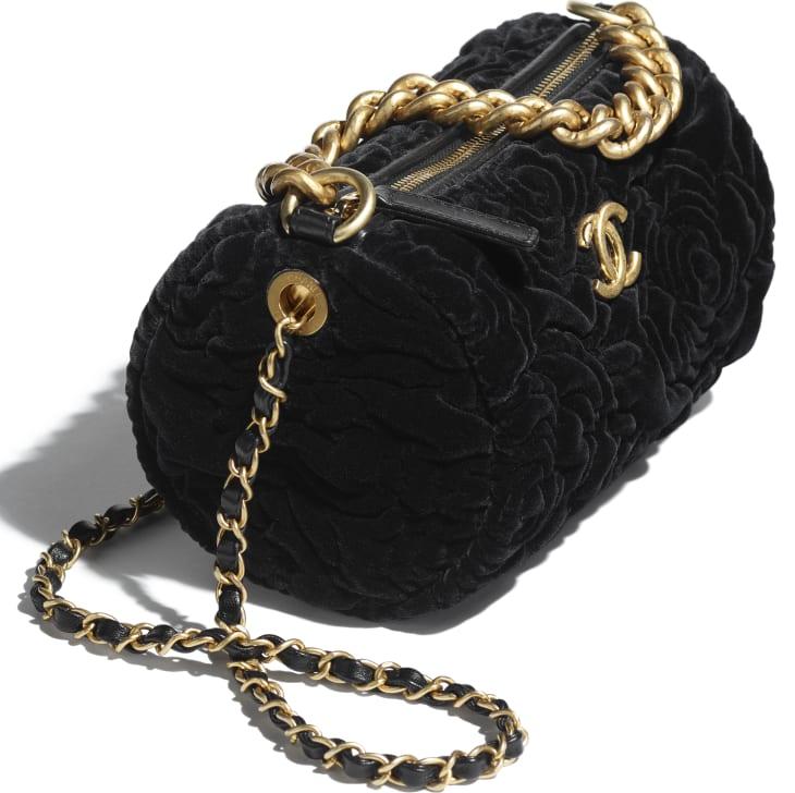 image 4 - Small Bowling Bag - Velvet & Gold-Tone Metal - Black