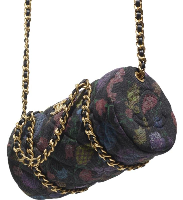 image 4 - Small Bowling Bag - Printed Denim & Gold-Tone Metal - Charcoal & Multicolor