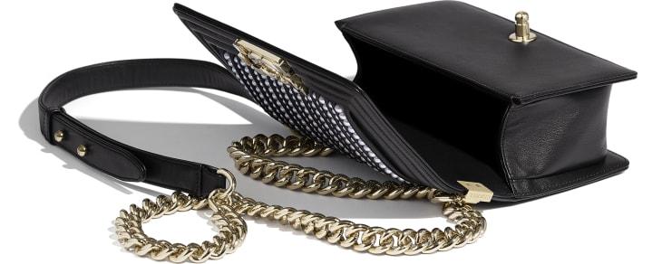 image 3 - Bolsa BOY CHANEL Pequena - Couro de novilho, pérolas de resina & metal dourado - Preto