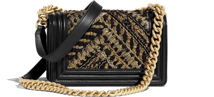 image 2 - Small BOY CHANEL Handbag - Calfskin, Cotton & Gold-Tone Metal - Black & Gold