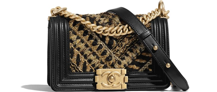 image 1 - Small BOY CHANEL Handbag - Calfskin, Cotton & Gold-Tone Metal - Black & Gold