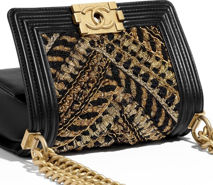 image 4 - Small BOY CHANEL Handbag - Calfskin, Cotton & Gold-Tone Metal - Black & Gold