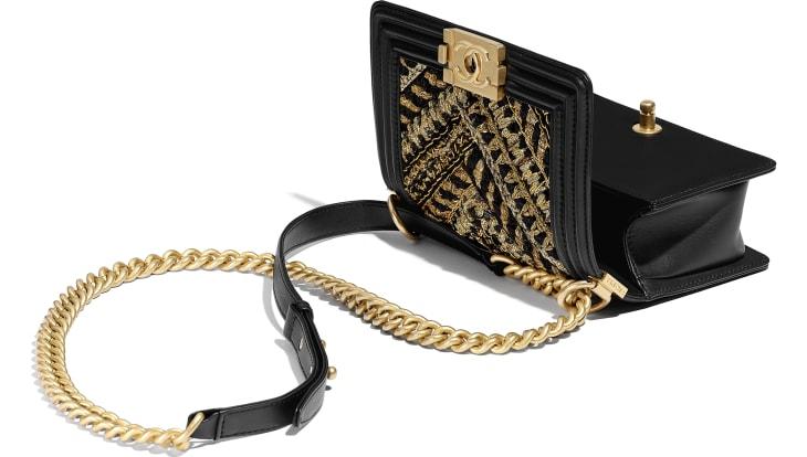 image 3 - Small BOY CHANEL Handbag - Calfskin, Cotton & Gold-Tone Metal - Black & Gold