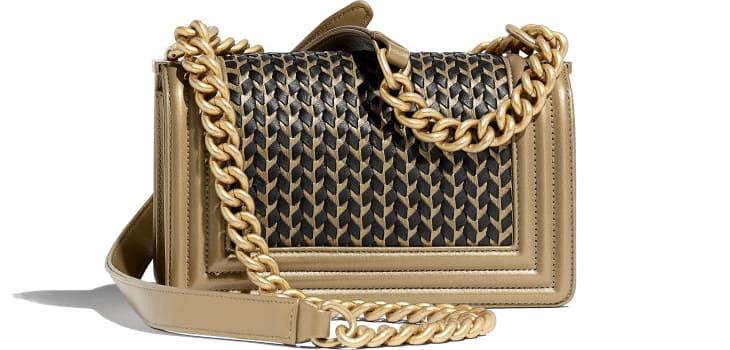 image 2 - Small BOY CHANEL Handbag - Metallic Lambskin & Gold-Tone Metal - Gold & Black