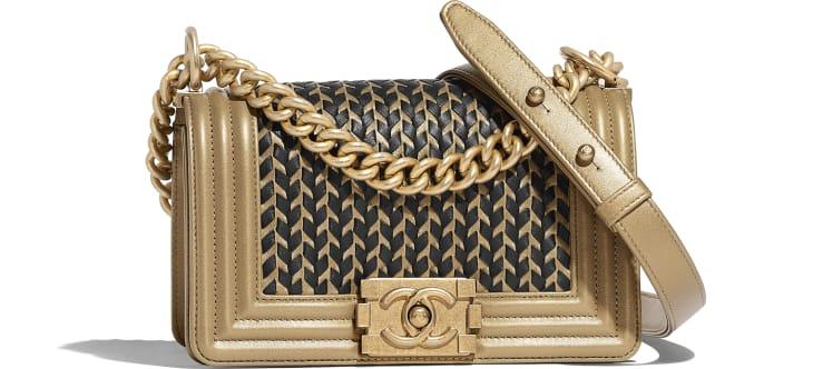 image 1 - Small BOY CHANEL Handbag - Metallic Lambskin & Gold-Tone Metal - Gold & Black