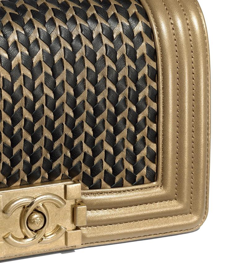 image 4 - Small BOY CHANEL Handbag - Metallic Lambskin & Gold-Tone Metal - Gold & Black