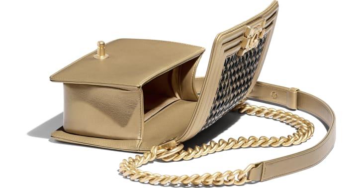 image 3 - Small BOY CHANEL Handbag - Metallic Lambskin & Gold-Tone Metal - Gold & Black