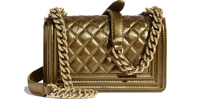 image 2 - Small BOY CHANEL Handbag - Metallic Calfskin, Enamel & Gold-Tone Metal - Gold