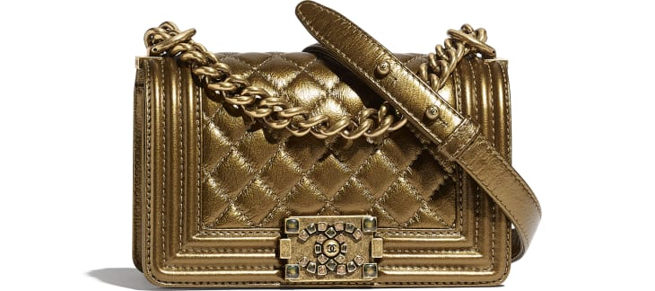 image 1 - Small BOY CHANEL Handbag - Metallic Calfskin, Enamel & Gold-Tone Metal - Gold